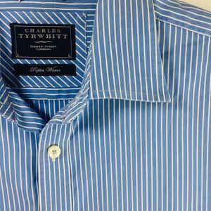 Charles Tyrwhitt Blue & White Button Down shirt L